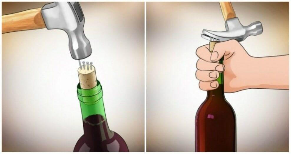 Cách mở nút rượu vang chỉ với chiếc búa