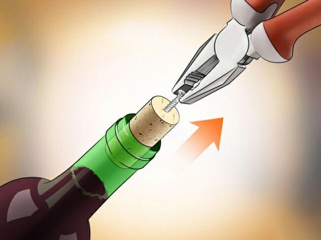 Mở rượu vang với kìm và ốc vít