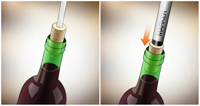 Dùng bút để mở nắp rượu vang