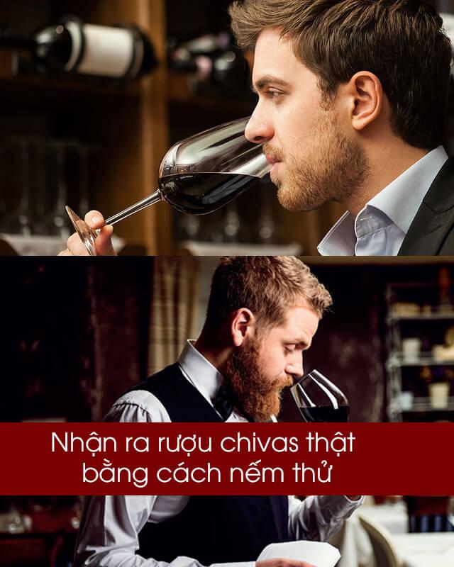 Nhận ra rượu chivas thật bằng cách nếm thử
