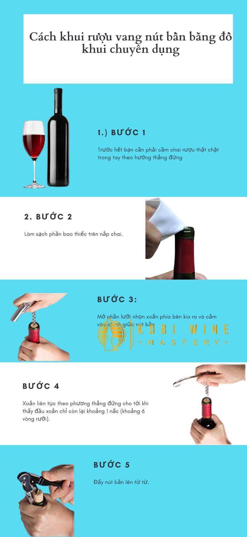 Quy trình khui chai rượu vang