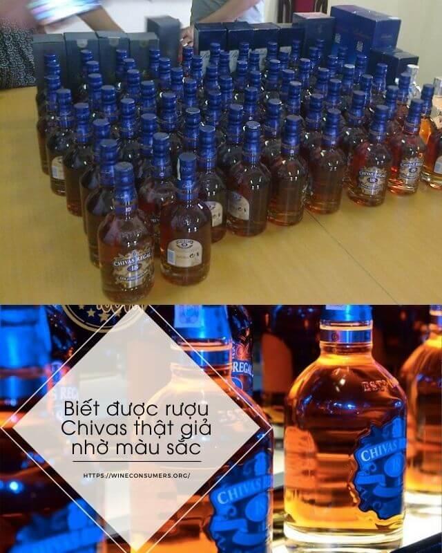phân biệt rượu chivas thật giả qua màu sắc