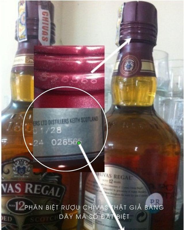 phân biệt rượu chivas thật giả thông qua mã số