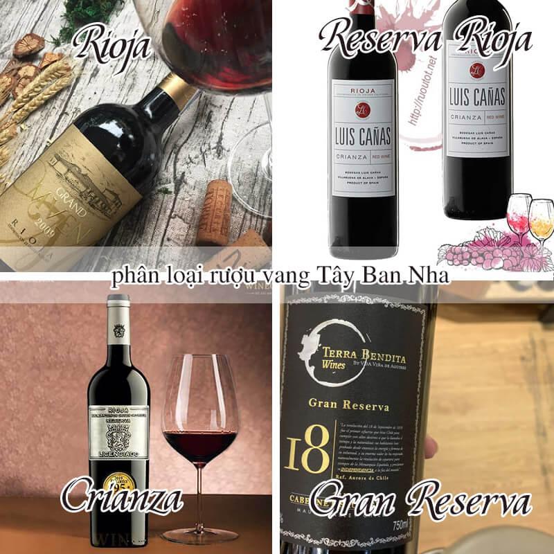 Phân loại rượu vang Tây Ban Nha