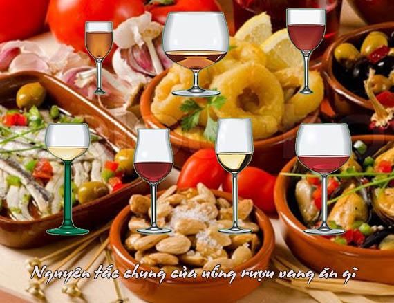 Nguyên tắc chung của uống rượu vang ăn gì
