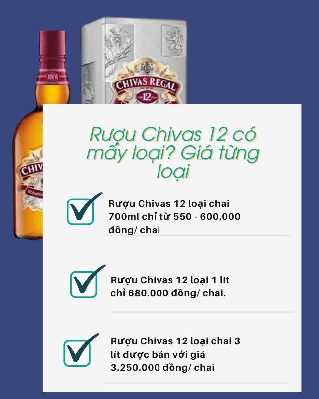 Rượu Chivas 12 có mấy loại Giá từng loại